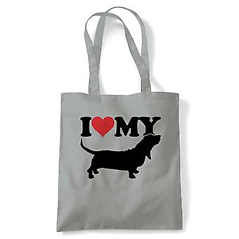 I Love My Basset Hound Tote - France Crufts Dog Show Kennel Club Pedigree Breed Chiot (fr) Reusable Shopping Cotton Canvas Long Handled Natural Shopper Eco-Friendly Mode