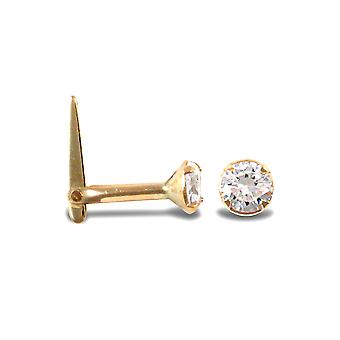 Jewelco London Ladies 9ct Yellow Gold White Round Cubic Zirconia Solitaire Claw Set Nose Stud