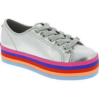 Steve Madden Frauen's Low Top Plattform Schnürsenkel Regenbogen Sneakers Silber Leinwand