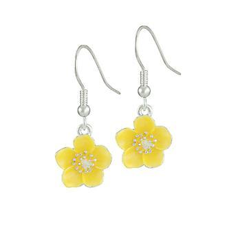 Eternal Collection Buttercup Yellow Enamel Silver Tone Flower Drop Pierced Earrings