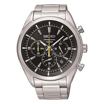 Seiko Chronograph Black Dial Silver Stainless Steel Quartz Men's Watch SSB087P1