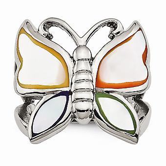 Edelstahl poliert und emaillierte Schale Schmetterling Ring - Ring-Größe: 6 bis 9