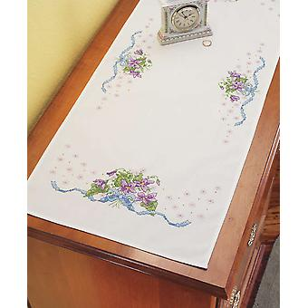 Violettes commode écharpe estampillée Cross Stitch 14 « X 35 » 21 1113