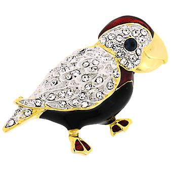 Brooches Store Gold Plated Swarovski Crystals and Enamel Parrot Brooch