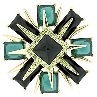 Brooches Store Large Emerald Green Facet Crystal Deco Style Cross Brooch