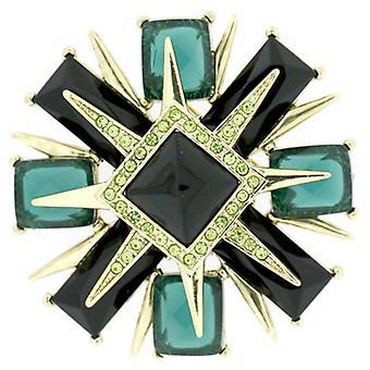 Magasin de broches grande facette vert émeraude cristal Deco Style Cross Brooch