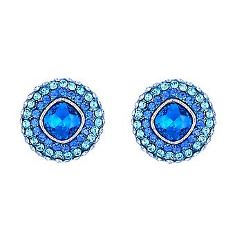 Butler  and  Wilson Crystals Round Shape Pave Stud Earrings  Sapphire Blue