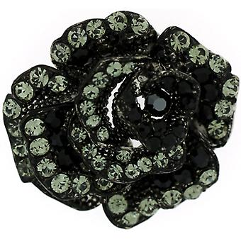 Brooches Store Small Black Diamond Swarovski Crystal Rose Flower Brooch Pendant