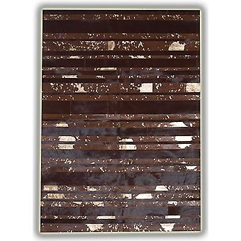 Rugs -Patchwork Leather Striped Cowhide - Brown & Gold Stripes