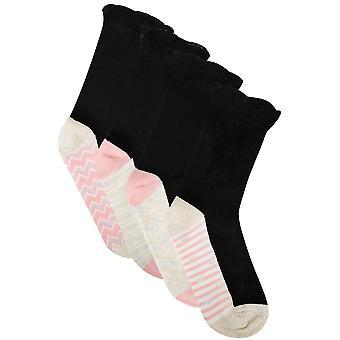 4er-PACK Black & Multi Fußbett Muster Socken