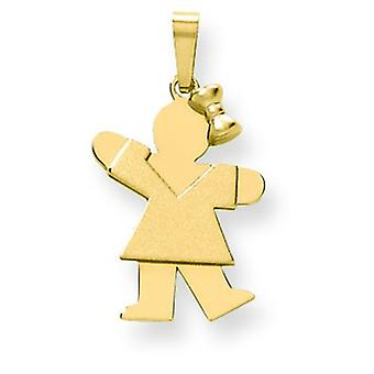 14k Yellow Gold Solid Engraveable Girl With Bow on Right Charm - 1.5 Grams