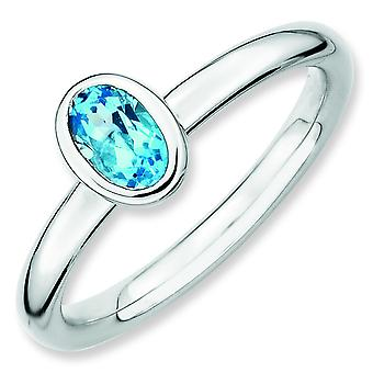 Sterling Silver Bezel Polished Rhodium-plated Stackable Expressions Oval Blue Topaz Ring - Ring Size: 5 to 10
