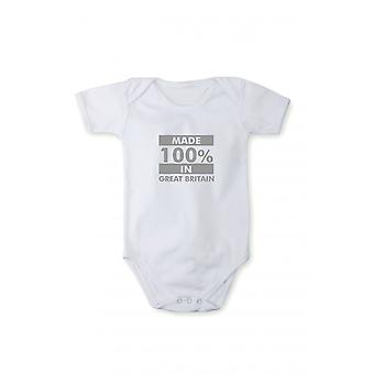 Baby body with shiny silver print made in Greatbritain