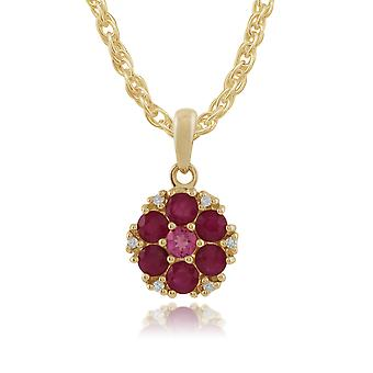 9ct Yellow Gold Floral Ruby, Pink Tourmaline & Diamond Pendant on Chain