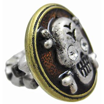 Pewter & Brass Skull & Crossbones Stretch Ring