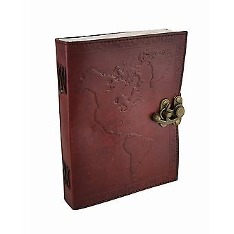 Embossed Leather World Map Journal w/Swing Clasp