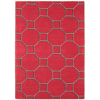 Matrix Red Trellis Wool  Viscose Modern Rug