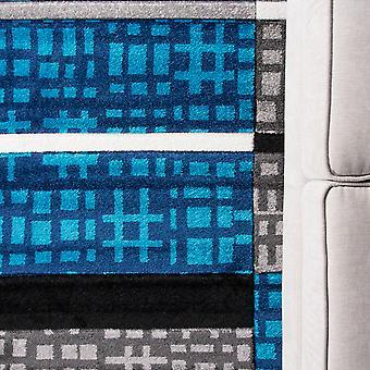 Teal Blue & Grey Patchwork Hallway Runner Rug - Rio