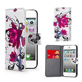 Boek lederen Case Cover voor Apple iPod Touch 5 - Purple Rose ontwerpen