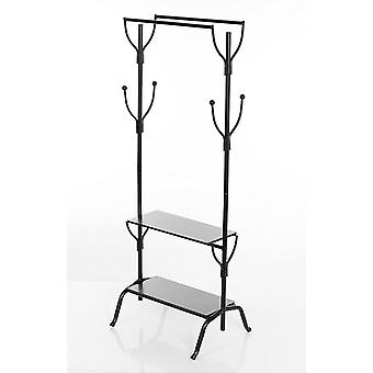 Vintage Style Metal Double Clothes Rail Two Dark Wood Shelves For Shoes Hats