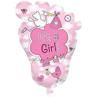 Foil balloon foot birth girls pink helium balloon 70 x 102 cm balloon