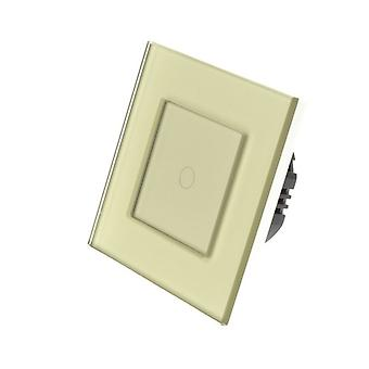 I LumoS Gold Glass Frame 1 Gang 1 Way Touch LED Light Switch Gold Insert