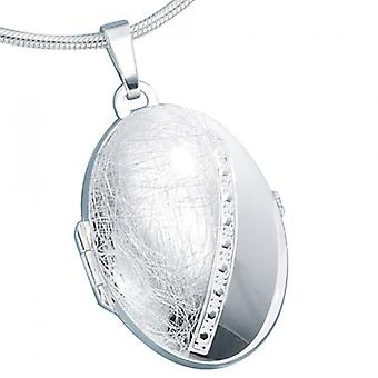 Medallion 925 /-s part ice frosted Photo Pendant oval silver Locket silver