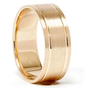 14K Gelb Gold Comfort Fit gebürstet Herren Ehering