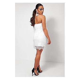 The Fashion Bible White Strapless Lace Dress