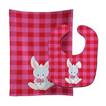 Carolines Treasures  BB9171STBU Bunny Rabbit #2 Baby Bib & Burp Cloth