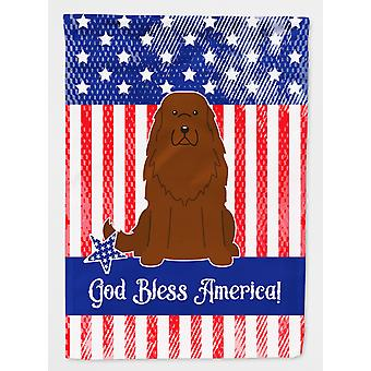 Patriotic USA Caucasian Shepherd Dog Flag Canvas House Size