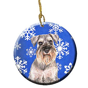 Winter Snowflakes Holiday Schnauzer Ceramic Ornament