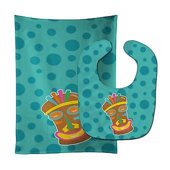 Carolines Treasures  BB8814STBU Tiki Face Baby Bib & Burp Cloth