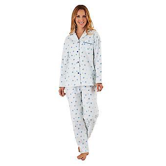 Slenderella PJ8213 Frauen Blau Floral gebürstete Baumwolle Pyjama Langarm-Pyjama-Set
