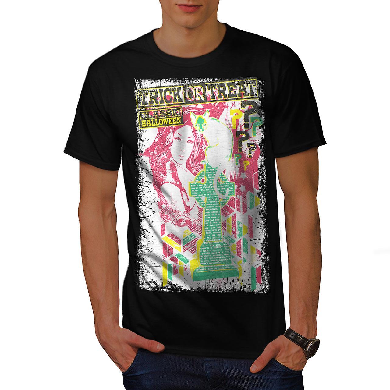 Trick Or Treat Halloween Men Black T-shirt   Wellcoda
