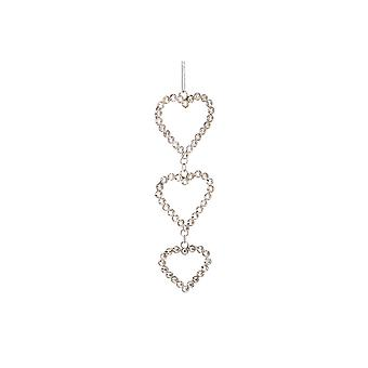 CGB Giftware Christmas Triple Crystal Heart Hanging Decoration