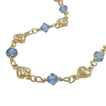 Aqua blue beads gold plated necklace