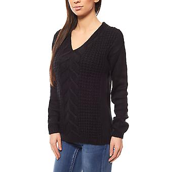 Chillytime cable Pullover Sweater ladies knitting sweater black