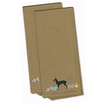 Toy Fox Terrier Easter Tan Embroidered Kitchen Towel Set of 2