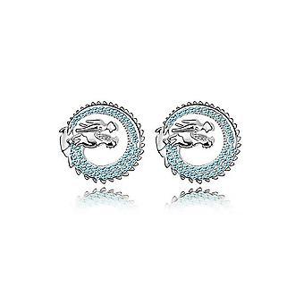 Boucles d'oreilles Dragon ornées de Cristal Bleu de Swarovski et Plaqué Rhodium