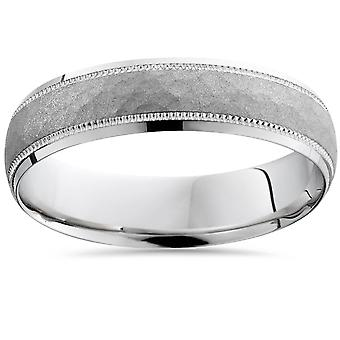 Mens gehamerd 10 k White Gold Wedding Band 5mm