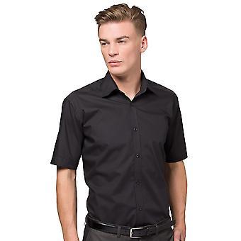 Kustom Kit Mens Slim Fit Business Shirt Short Sleeve
