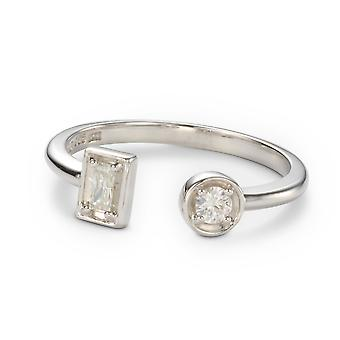 Forever Classic Round and Baguette Moissanite Two Stone Ring