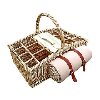 6 Bottle Wicker Picnic Basket with Glasses and Blanket