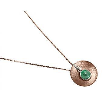 Gemshine - Damen - Halskette - Anhänger - 925 Silber - Rose Vergoldet - Schale -  Geometrisch - Design - Smaragd - Grün - 45 cm