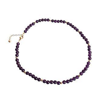 Gemshine - Damen - Halskette - Vergoldet - Amethyst - Facettiert - Violett - 45 cm
