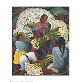 The Flower Vendor Poster Print by Diego Rivera (8 x 10)