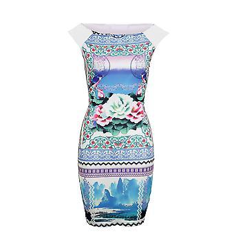 New Ladies Sleeveless Bird Flower Print Short Women's Bodycon Dress