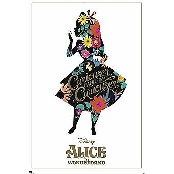 Alice in Wonderland poster refined silhouette with gold effects