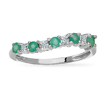 14k White Gold Emerald and Diamond Wave Band